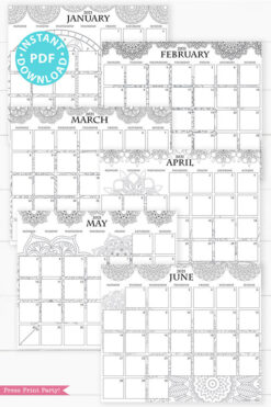 January, February, March, April, May, June, MONDAY Start 2021 Monthly Printable Calendar Template, Mandala Coloring, Bullet Journal Calendar Download, Monthly Planner, INSTANT DOWNLOAD