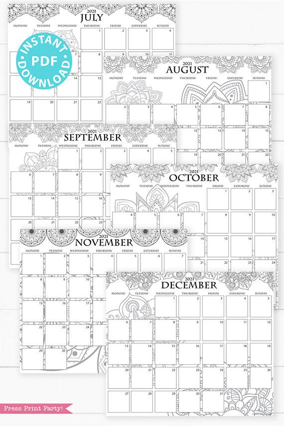 July, August, September, October, November, December, MONDAY Start 2021 Monthly Printable Calendar Template, Mandala Coloring, Bullet Journal Calendar Download, Monthly Planner, INSTANT DOWNLOAD