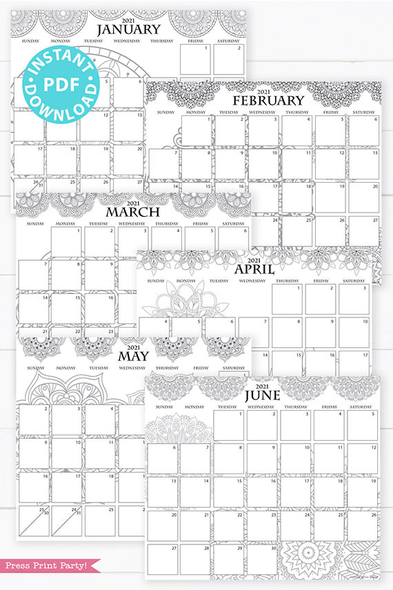 January, February, March, April, May, June, 2021 Monthly Printable Calendar Template, Mandala Coloring, Bullet Journal Calendar Download, Monthly Planner, Sunday, INSTANT DOWNLOAD