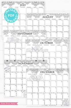 July, August, September, October, November, December, 2021 Monthly Printable Calendar Template, Mandala Coloring, Bullet Journal Calendar Download, Monthly Planner, Sunday, INSTANT DOWNLOAD