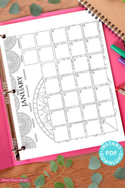 2021 Monthly Printable Calendar Template, Mandala Coloring, Bullet Journal Calendar Download, Monthly Planner, Sunday, INSTANT DOWNLOAD