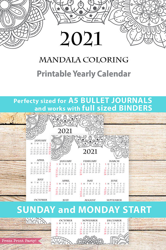 2021 Calendar Template Printable, Mandala, Bullet Journal Printable Calendar Download, Yearly Calendar Insert, INSTANT DOWNLOAD