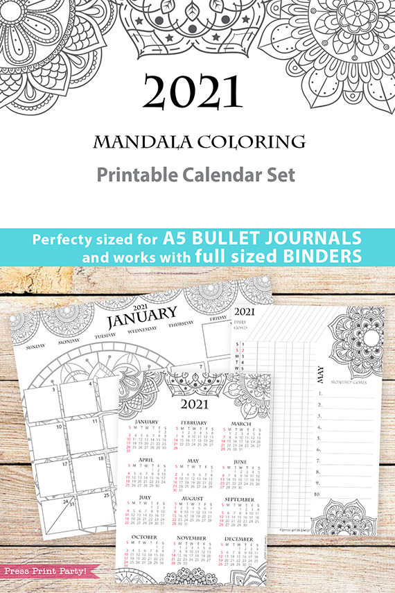 2021 Calendar Template Printable Set, Mandala, Bullet Journal, Monthly Planner, Daily Routine, Coloring, INSTANT DOWNLOAD