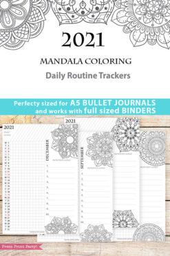2021 Daily Routine Printables, Habit Tracker, Mandala Coloring, Bullet Journal Printable, Daily Tracker Goal Planner, INSTANT DOWNLOAD