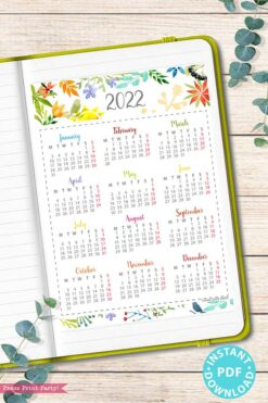 2022 Yearly Calendar Template Printable, Watercolor Designs, Bullet Journal Printable Calendar Insert, One Page Calendar, INSTANT DOWNLOAD Press print Party