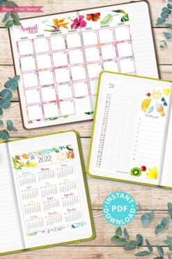 MONDAY Start 2022 Printable Calendar Template Set, Watercolor design, Bullet Journal Printable, Monthly and Daily Routine, INSTANT DOWNLOAD press print party