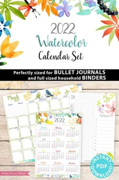 2022 Printable Calendar Template Set, Watercolor design, Bullet Journal Inserts, Monthly Calendar, Daily Routine Tracker, INSTANT DOWNLOAD Press Print Party