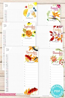 2021-2022 Goal Planner Templates, Daily Routine, Habit Tracker Printable, Watercolor Designs, Bullet Journal Daily Tracker INSTANT DOWNLOAD press print party