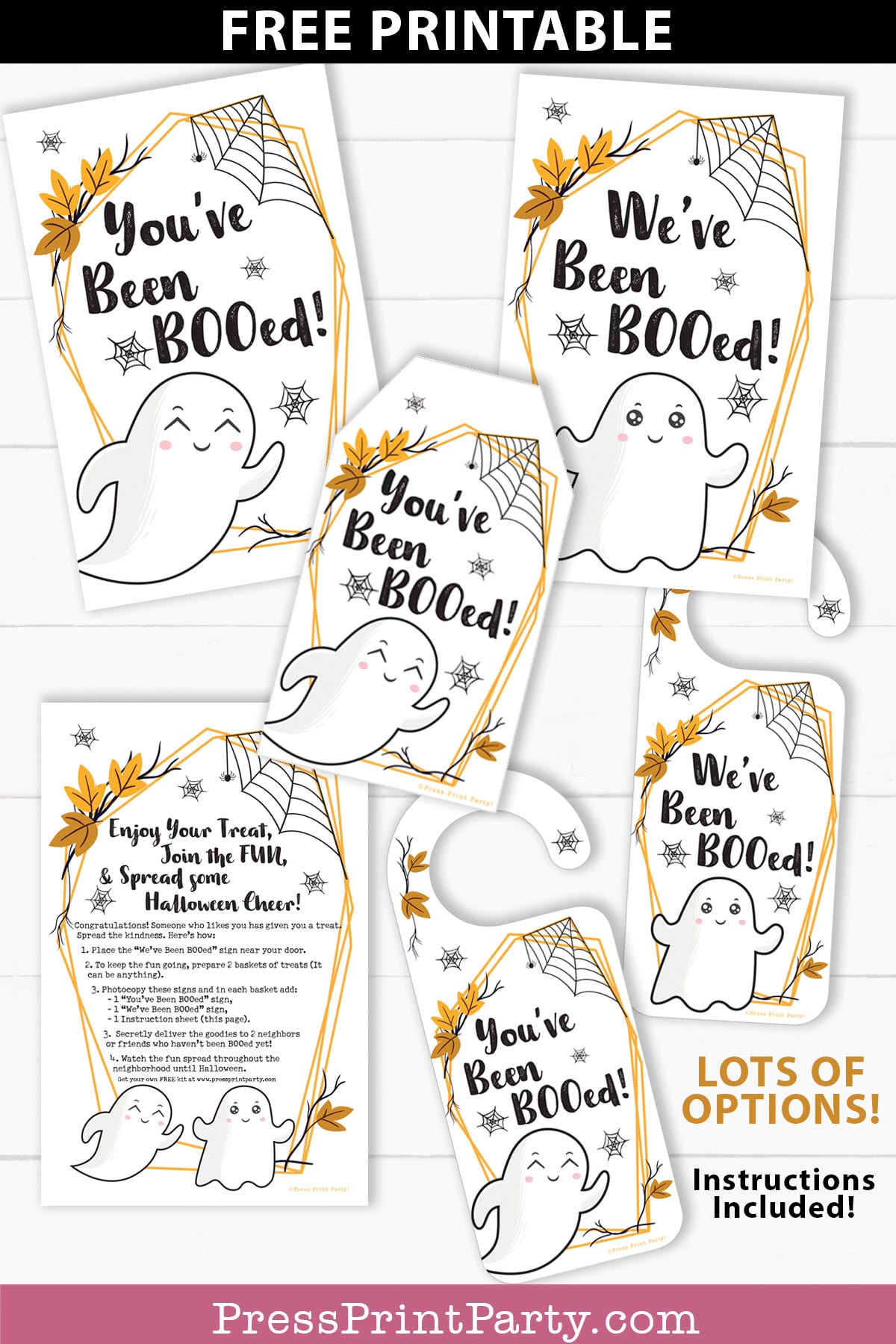 You've been booed sign and We've been booed sign halloween game with instructions Press Print Party!