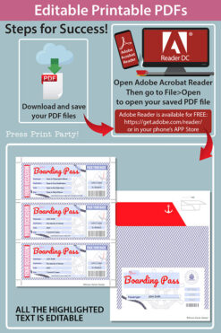 Cruise Boarding Pass Template pdf w. Holder Editable Text Printable, Vacation Surprise Cruise Gift Voucher Ticket, Red & Blue, INSTANT DOWNLOAD