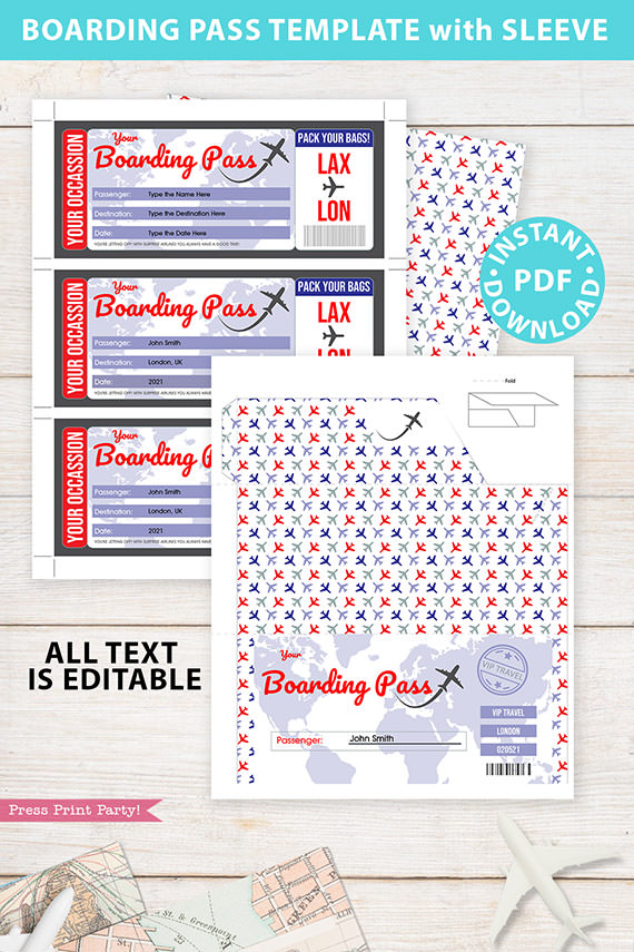 Boarding Pass Template pdf w. Holder Editable Text Printable, Vacation Surprise Trip Gift Voucher Airline Ticket, Red Blue, INSTANT DOWNLOAD