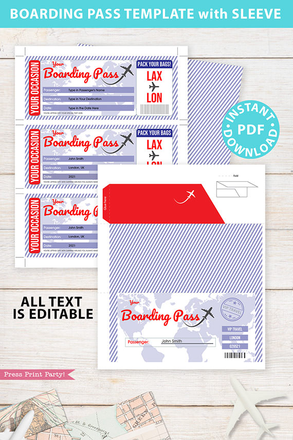 Boarding Pass Template pdf w. Holder Editable Text Printable, Vacation Surprise Trip Gift Voucher Airline Ticket, Blue Red, INSTANT DOWNLOAD