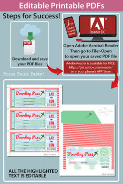 Boarding Pass Template pdf w. Holder Editable Text Printable, Christmas Gift Surprise Trip Voucher Airline Ticket, Green Red, INSTANT DOWNLOAD