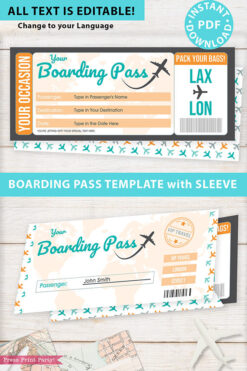 Boarding Pass Template pdf w. Holder Editable Text Printable, Vacation Surprise Trip Gift Voucher Flight Airline Ticket, Gold, INSTANT DOWNLOAD
