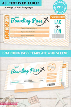 Boarding Pass Template pdf w. Holder Editable Text Printable, Vacation Surprise Trip, Gift Voucher Flight Airline Ticket, Gold, INSTANT DOWNLOAD