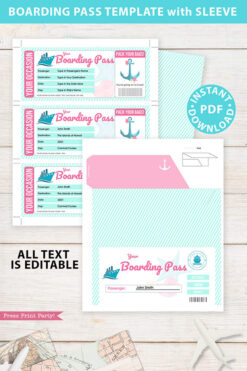 Cruise Boarding Pass Template pdf w. Holder Editable Text Printable, Vacation Surprise Cruise Gift Voucher Ticket, Pink, INSTANT DOWNLOAD