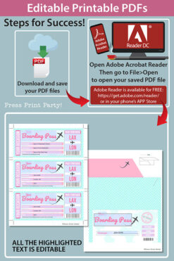 Boarding Pass Template w. Holder Editable Text Printable, Vacation Surprise Trip Gift Voucher Flight Airline Ticket, Pink, INSTANT DOWNLOAD