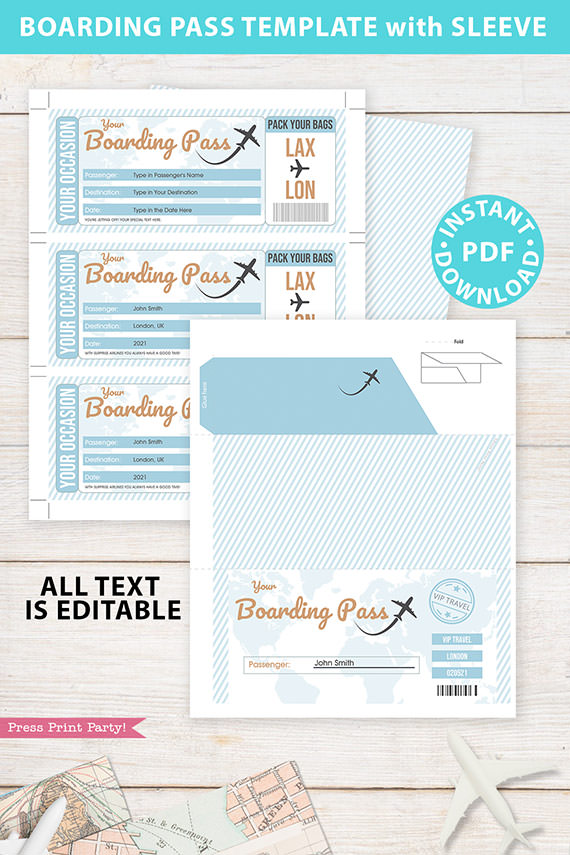 Boarding Pass Template pdf w. Holder Editable Text Printable, Vacation Surprise Trip Gift Voucher Flight Airline Ticket, Blue, INSTANT DOWNLOAD
