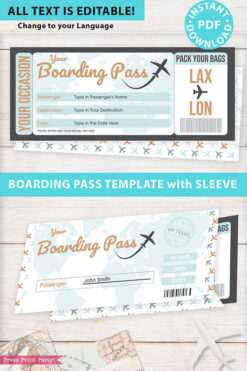 Boarding Pass Template pdf w. Holder Editable Text Printable, Vacation Surprise Trip Gift Voucher Flight Airline Ticket, Green, INSTANT DOWNLOAD