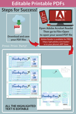 Boarding Pass Template pdf w. Holder Editable Text Printable, Vacation Surprise Trip, Gift Voucher Flight Airline Ticket, Teal, INSTANT DOWNLOAD