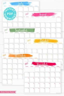 July, August, September, October, November, December, MONDAY Start 2021 Monthly Printable Calendar Template, Brush Stokes Design, Bullet Journal Calendar Insert Monthly Planner, INSTANT DOWNLOAD