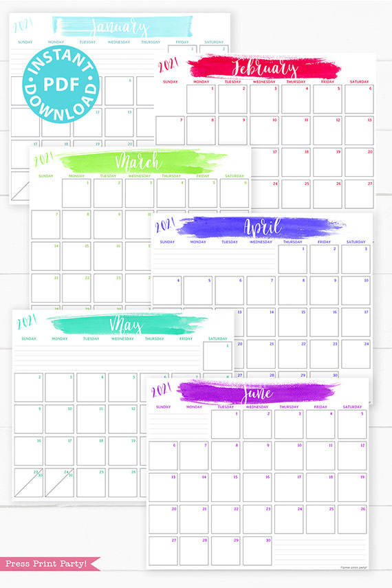 January, February, March, April, May, June, 2021 Monthly Printable Calendar Template, Brush Stokes Design, Bullet Journal Calendar Download, Monthly Planner, Sunday, INSTANT DOWNLOAD
