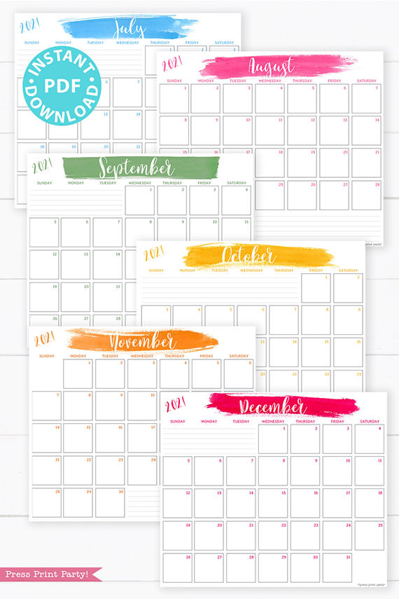 July, August, September, October, November, December, 2021 Monthly Printable Calendar Template, Brush Stokes Design, Bullet Journal Calendar Download, Monthly Planner, Sunday, INSTANT DOWNLOAD