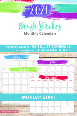 MONDAY Start 2021 Monthly Printable Calendar Template, Brush Stokes Design, Bullet Journal Calendar Insert Monthly Planner, INSTANT DOWNLOAD
