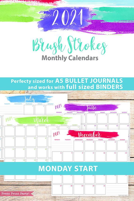 MONDAY Start 2021 Monthly Printable Calendar Template, Brush Stokes Design, Bullet Journal Calendar Insert Monthly Planner, INSTANT DOWNLOAD