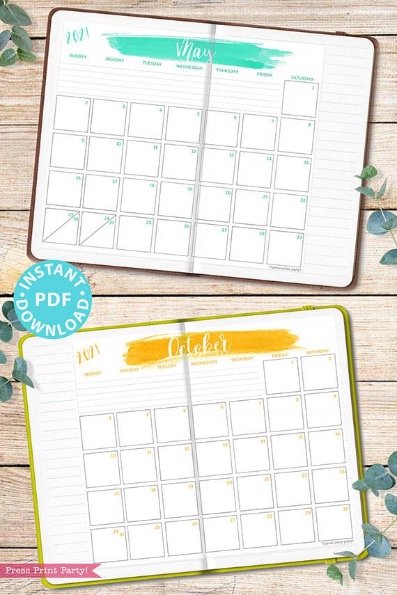 2021 Monthly Printable Calendar Template, Brush Stokes Design, Bullet Journal Calendar Download, Monthly Planner, Sunday, INSTANT DOWNLOAD