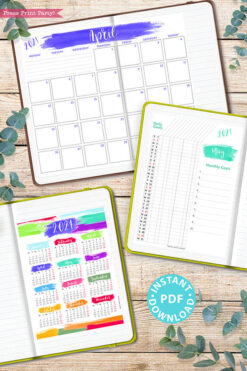 MONDAY Start 2021 Printable Calendar Template Set, Brush Strokes, Bullet Journal Printable Inserts, Monthly Calendar, INSTANT DOWNLOAD