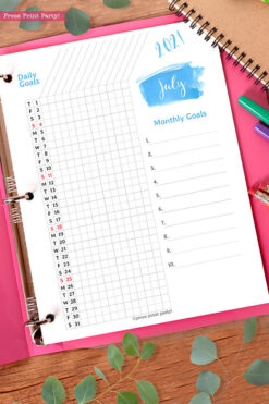 2021 Daily Routine Printables, Habit Tracker, Brush Strokes Design, Bullet Journal Printable, Daily Tracker Goal Planner, INSTANT DOWNLOAD