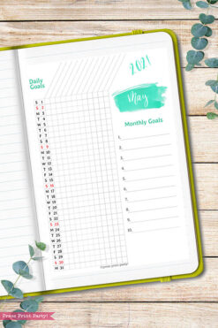 2021 Daily Routine Printables, Habit Tracker, Brush Strokes Design, Bullet Journal Printable, Daily Tracker Goal Planner, INSTANT DOWNLOAD