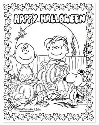 free halloween printable coloring sheets - website roundup - charlie brown happy halloween