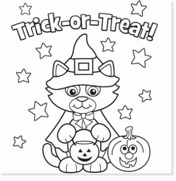 free halloween printable coloring sheets - website roundup - cat trick or treat coloring pages