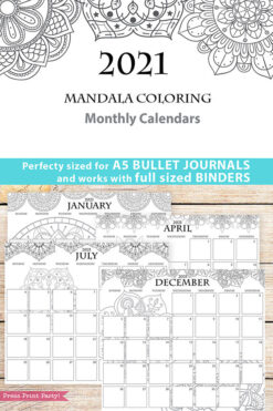 2021 Monthly Printable Calendar Template, Mandala Coloring, Bullet Journal Calendar Download, Monthly Planner, Sunday, INSTANT DOWNLOAD