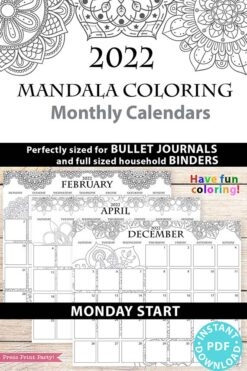 MONDAY Start 2021-2022 Monthly Calendar Printable, Monthly Planner Template, Mandala Coloring Pages, Bullet Journal, INSTANT DOWNLOAD press print party