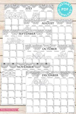2021-2022 Monthly Calendar Printable, Monthly Planner Template, Mandala Coloring, Bullet Journal, Sunday, INSTANT DOWNLOAD press print party