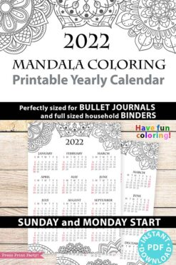 2022 Yearly Calendar Template Printable, Mandala Coloring, Bullet Journal Printable Calendar Insert, One Page Calendar, INSTANT DOWNLOAD press print party