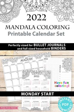 MONDAY Start 2022 Printable Calendar Template Set, Mandala Coloring, Bullet Journal Printable, Monthly and Daily Routine, INSTANT DOWNLOAD