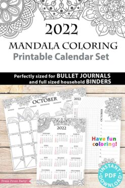 2022 Printable Calendar Template Set, Mandala Coloring, Bullet Journal Inserts, Monthly Calendar, Daily Routine Tracker, INSTANT DOWNLOAD press print party