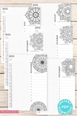2021-2022 Daily Routine Printables, Habit Tracker Printable, Mandala Coloring, Bullet Journal, Daily Tracker Goal Planner, INSTANT DOWNLOAD press print party