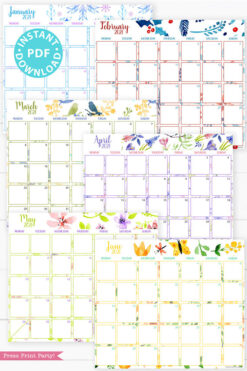 January, February, March, April, May, June,MONDAY Start 2021 Monthly Printable Calendar Template, Watercolor Designs, Bullet Journal Calendar, Monthly Planner, INSTANT DOWNLOAD