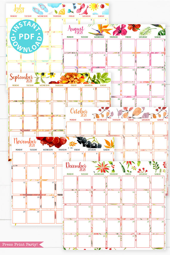 July, August, September, October, November, December,MONDAY Start 2021 Monthly Printable Calendar Template, Watercolor Designs, Bullet Journal Calendar, Monthly Planner, INSTANT DOWNLOAD