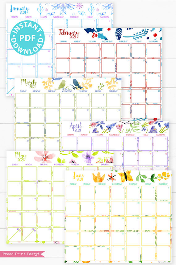 January, February, March, April, May, June,2021 Monthly Printable Calendar Template, Watercolor Designs, Bullet Journal Calendar Download, Monthly Planner, Sunday, INSTANT DOWNLOAD