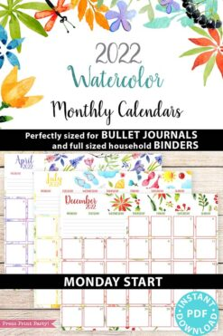 MONDAY Start 2021-2022 Monthly Calendar Printable, Monthly Planner Template, Colorful Watercolor Designs, Bullet Journal, INSTANT DOWNLOAD Press print Party