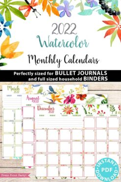 2022 Monthly Calendar Printable, Monthly Planner Template, Colorful Watercolor Designs, Bullet Journal, Sunday, INSTANT DOWNLOAD Press Print Party!