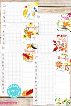 July, August, September, October, November, December, 2021 Daily Routine Printables, Habit Tracker, Watercolor Designs Bullet Journal Printable, Daily Tracker Goal Planner, INSTANT DOWNLOAD