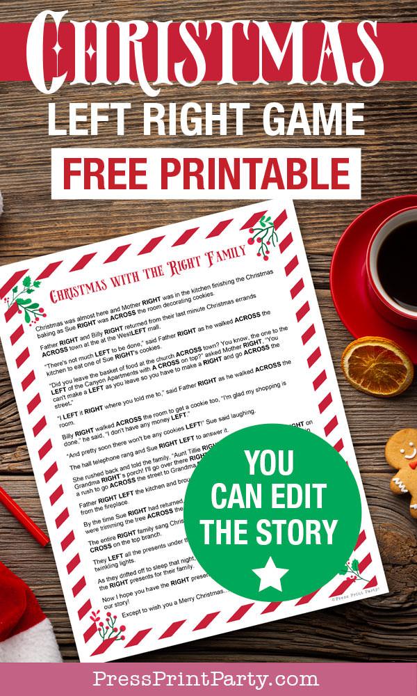 Jeu de Noël gauche droite à imprimer gratuitement.  Vous pouvez modifier l'histoire.  Presse Imprimer Party