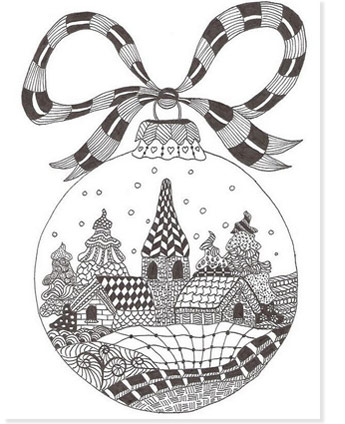 zentangle coloring page christmas of a village in a bulb